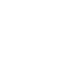 Round Stamp Style Logo of Yaralla Pastoral Farm with a vintage tractor in the middle